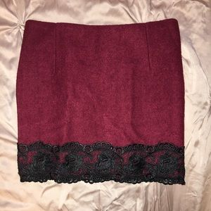 Dresses & Skirts - Burgundy black lace Miniskirt